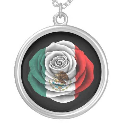 Mexican Rose Flag on Black Round Pendant Necklace