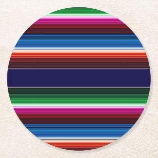 Mexican Serape Round Paper Coaster