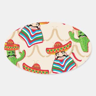 Mexican siesta oval sticker