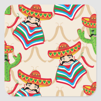 Mexican siesta square sticker