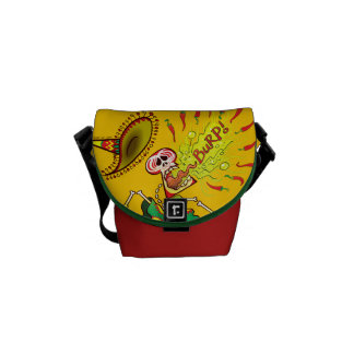Mexican Skeleton Burping Hot Chili Peppers Courier Bag