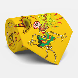 Mexican Skeleton Burping Hot Chili Peppers Tie