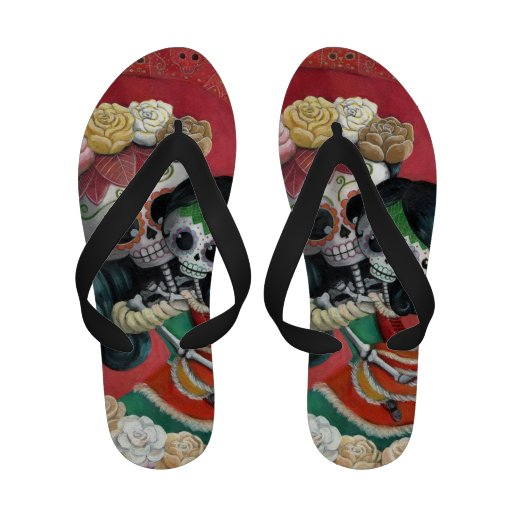 Mexican Skeleton Mother and Daughter Flip Flops