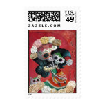 Mexican Skeleton Mother and Daughter Stamps