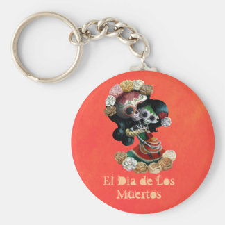 Mexican Skeleton Motherly Love Basic Round Button Keychain