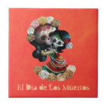 Mexican Skeleton Motherly Love Small Square Tile