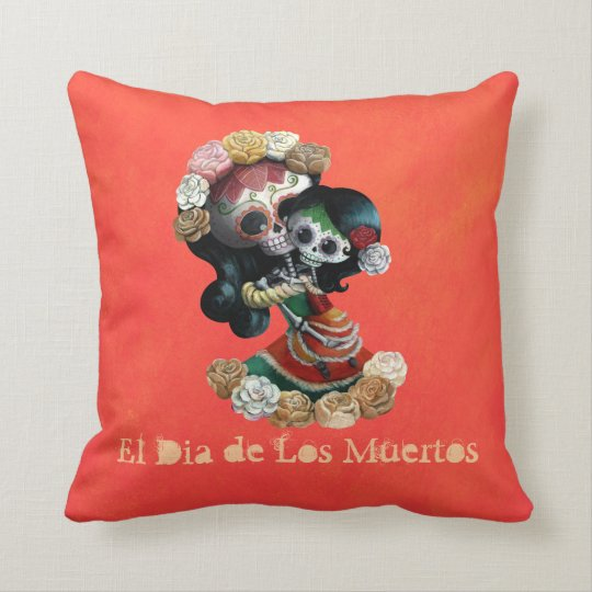 Mexican Skeleton Motherly Love Throw Pillow