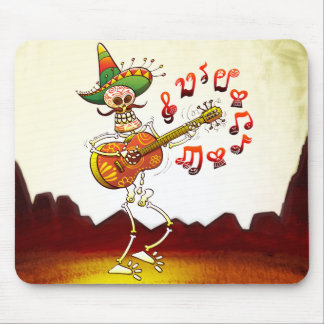Mexican Skeleton Playing Guitar Mousepads