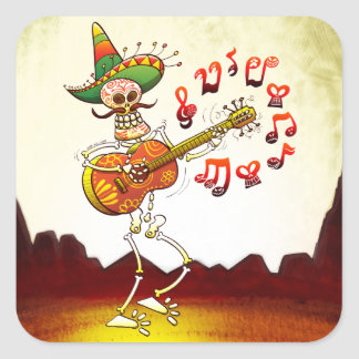 Mexican Skeleton Playing Guitar Square Stickers