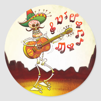 Mexican Skeleton Playing Guitar Stickers