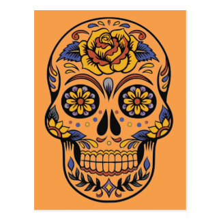 Mexican skull day of the dead postcard