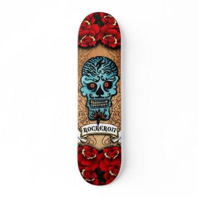 Mexican Skull Deck By Rockero77 Skates by Rockero77