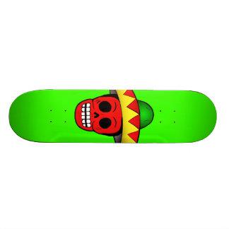Mexican Skull Green Skateboard