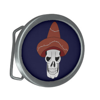 Mexican Skull Oval Belt Buckle