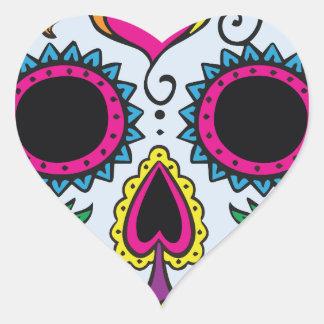 Mexican Skull Pattern Heart Sticker