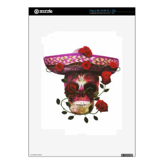 Mexican Skull Roses Decal For iPad 2