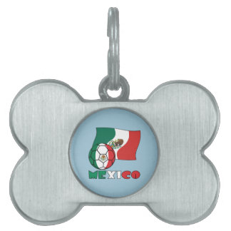 Mexican Soccer Ball and Flag Pet Tag