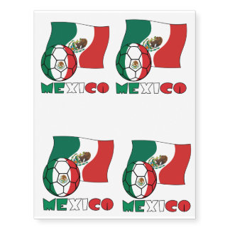 Mexican Soccer Ball and Flag Temporary Tattoos