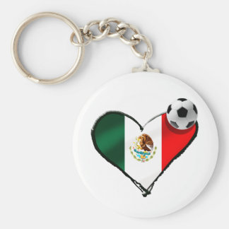 Mexican soccer love flag of Mexico heart gifts Keychain