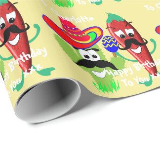 Mexican Sombrero Cactus Chilli Pepper Fiesta Fun Wrapping Paper