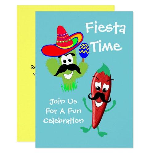 Mexican Sombrero Cactus Chilli Pepper Fiesta Party Invitation