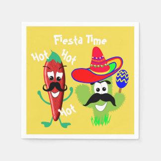 Mexican Sombrero Cactus Chilli Pepper Fiesta Party Paper Napkin