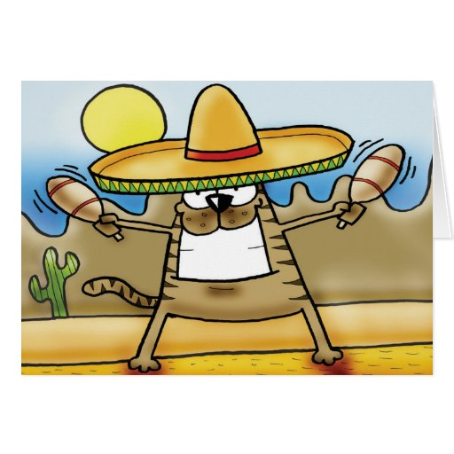 Mexican Sombrero Cat Greeting Card