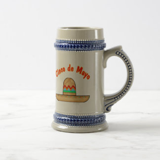 Mexican Sombrero Cinco de Mayo T-shirts and Gifts Beer Stein