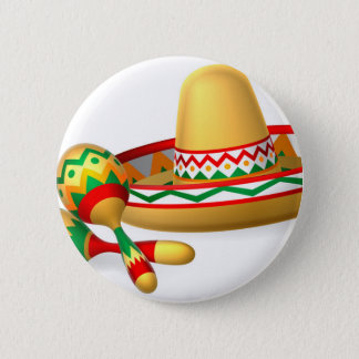 Mexican Sombrero Hat and Maracas Shakers Button