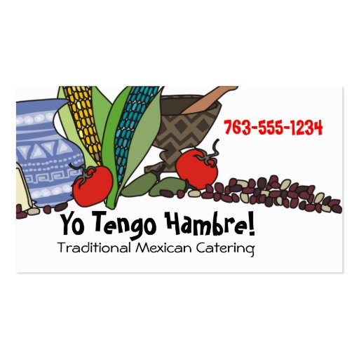 Mexican Southwestern foods chef catering biz cards Business Card Templates
