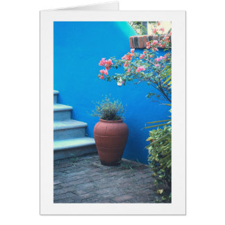 """""""Mexican Still Life"""" (Vase, Blue Wall, Staircase) Card"""