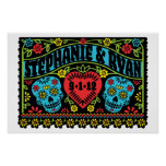 Mexican Style Skulls Wedding Banner Poster