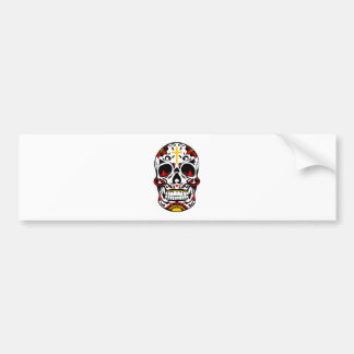 Mexican Sugar Skull Christian Cross On Forehead Bumper Sticker