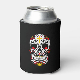 Mexican Sugar Skull Christian Cross On Forehead Can Cooler
