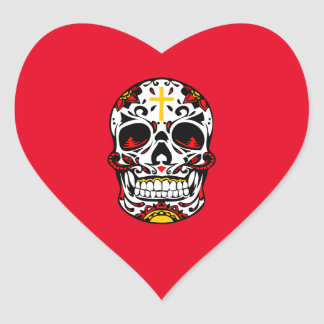 Mexican Sugar Skull Christian Cross On Forehead Heart Sticker