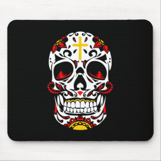 Mexican Sugar Skull Christian Cross On Forehead Mouse Pad