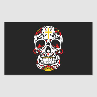 Mexican Sugar Skull Christian Cross On Forehead Rectangular Sticker