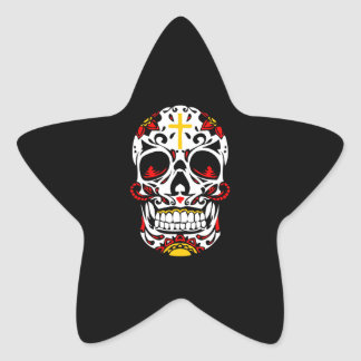 Mexican Sugar Skull Christian Cross On Forehead Star Sticker