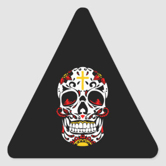 Mexican Sugar Skull Christian Cross On Forehead Triangle Sticker