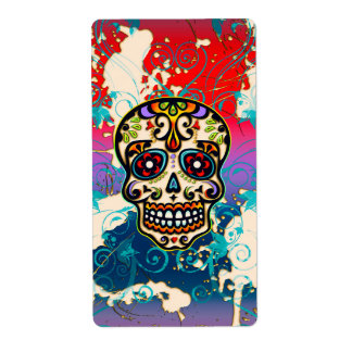 Mexican Sugar Skull, Day of the Dead, Ornaments Shipping Label