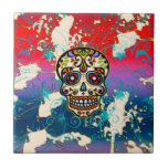 Mexican Sugar Skull, Day of the Dead, Ornaments Tile