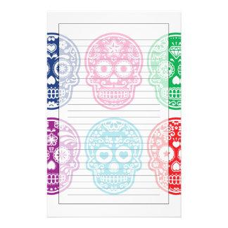 Mexican Sugar Skull, Dia De Los Muertos Colorful Stationery