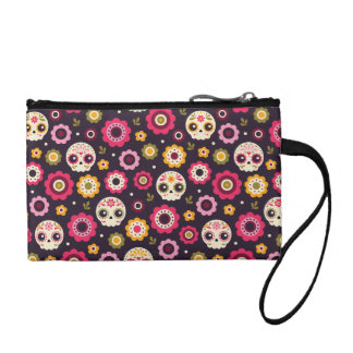 Mexican Sugar Skull Floral Pattern Change Purse