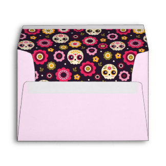 Mexican Sugar Skull Floral Pattern Envelope
