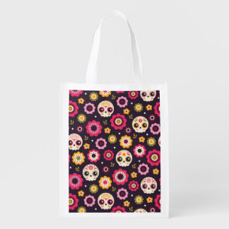Mexican Sugar Skull Floral Pattern Reusable Grocery Bag
