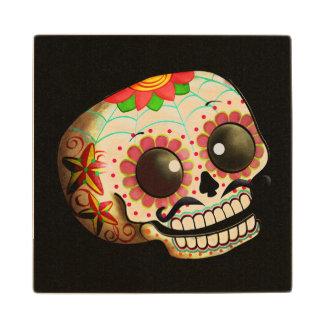 Mexican Sugar Skull Maple Wood Coaster