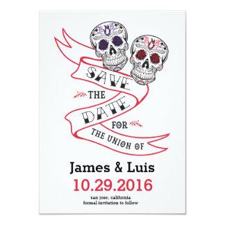 Mexican Sugar Skull Wedding Save the date 4.5x6.25 Card