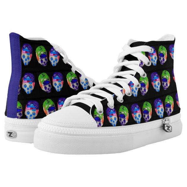 mexican sugar skulls high top tennis shoes printed shoes