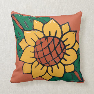 Mexican Sunflower Tile Throw Pillow