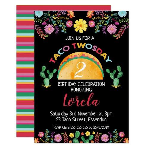 Mexican Taco Twosday 2nd Birthday Invitation